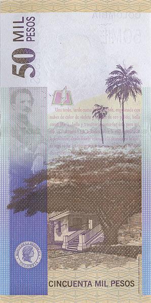 Saman impreso en un Peso Colombiano